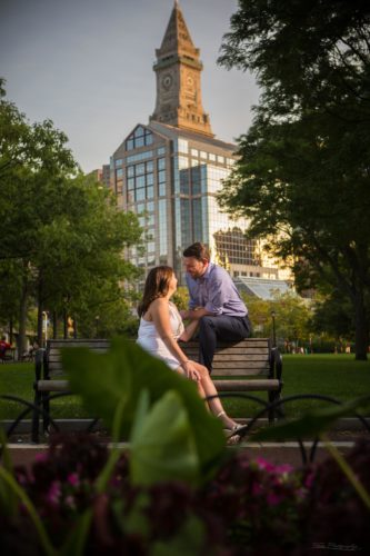 Boston engagement pictures in North End with custom house