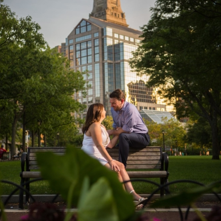 boston engagement pictures at christopher columbus park in the north end