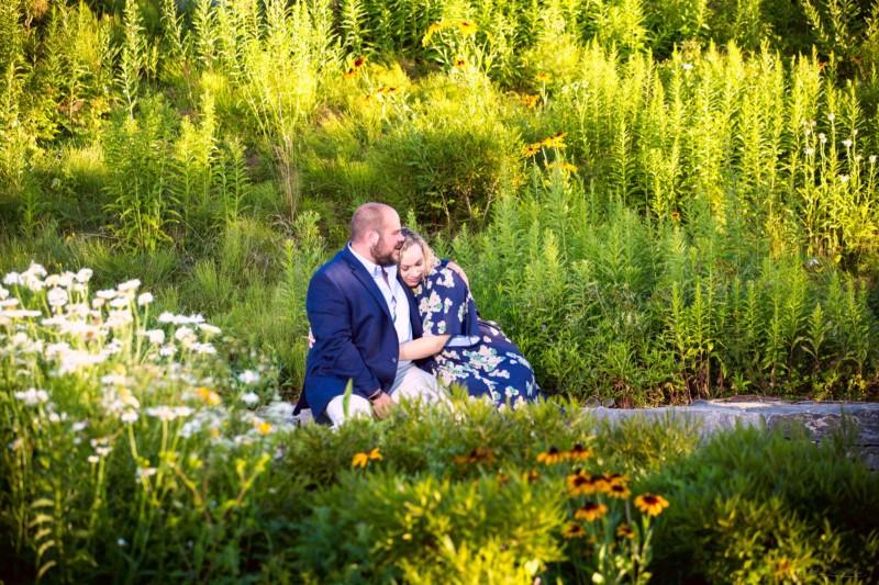 couple embraces during engagement photoshoot
