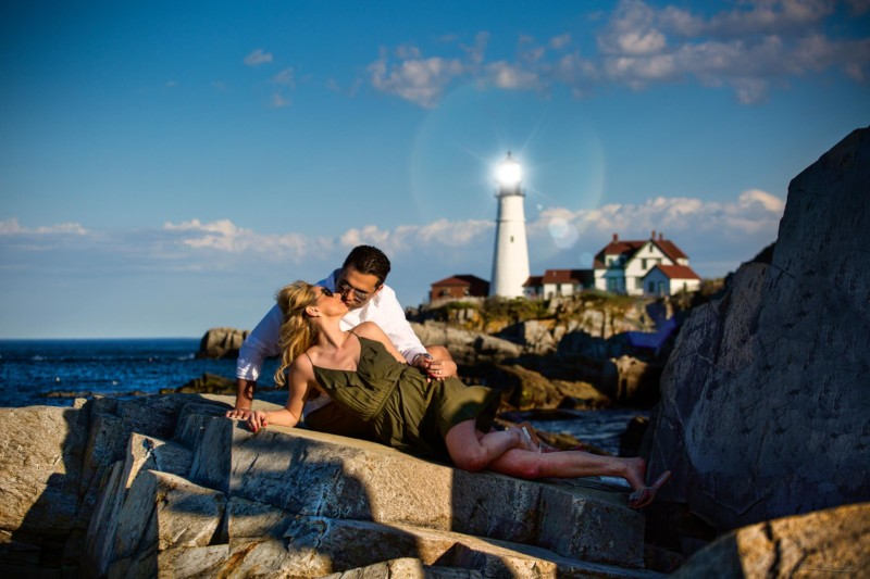 Portland, Maine engagement photoshoot with lighthouse in background