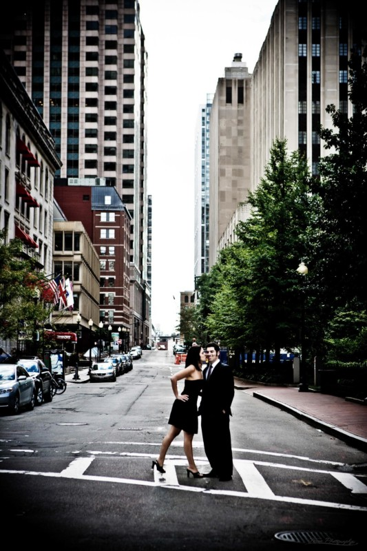 Boston engagement pictures in street in financial district