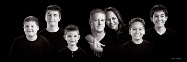 blended family photographed in portrait photography studio in Maine