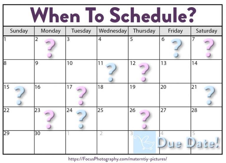 calendar of when to schedule maternity photo shoot
