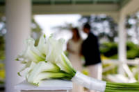 bride and groom behind calla lily bouquet