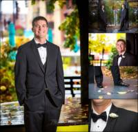 Wedding collage of groom pictures taken at the Westin Portland Maine