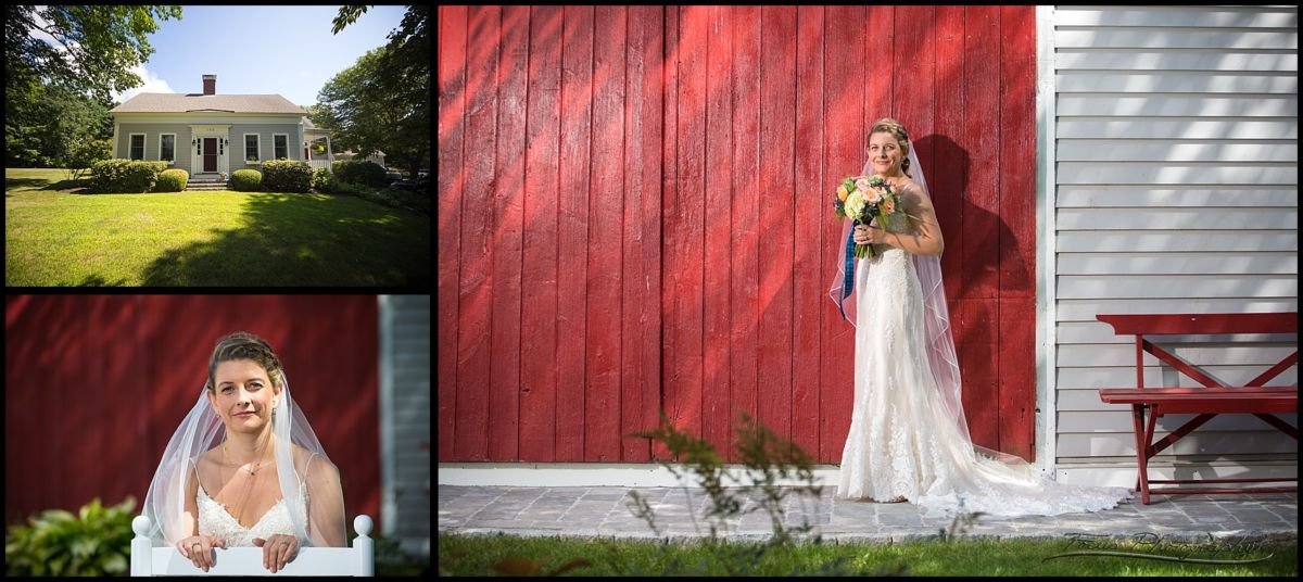 bride on her wedding day in rye new hampshire