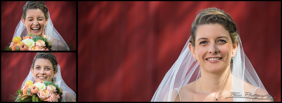 bridal portraits at red barn door for new hampshire wedding