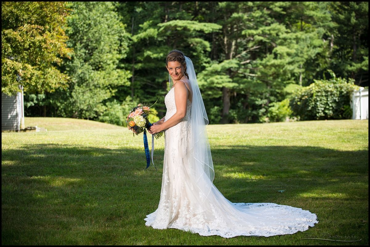 full length portrait of bride by new hampshire wedding photographers