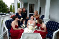 Waiting for the limo on the front porch