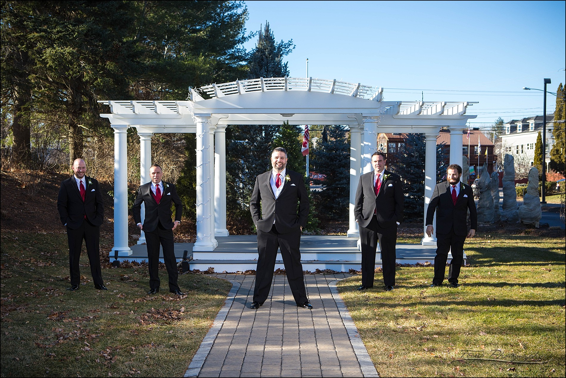 groomsment at  Village by the Sea wedding in Wells, Maine