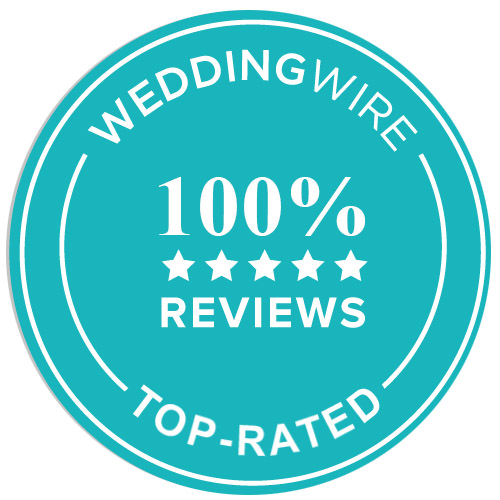 100% five star reviews at Wedding Wire