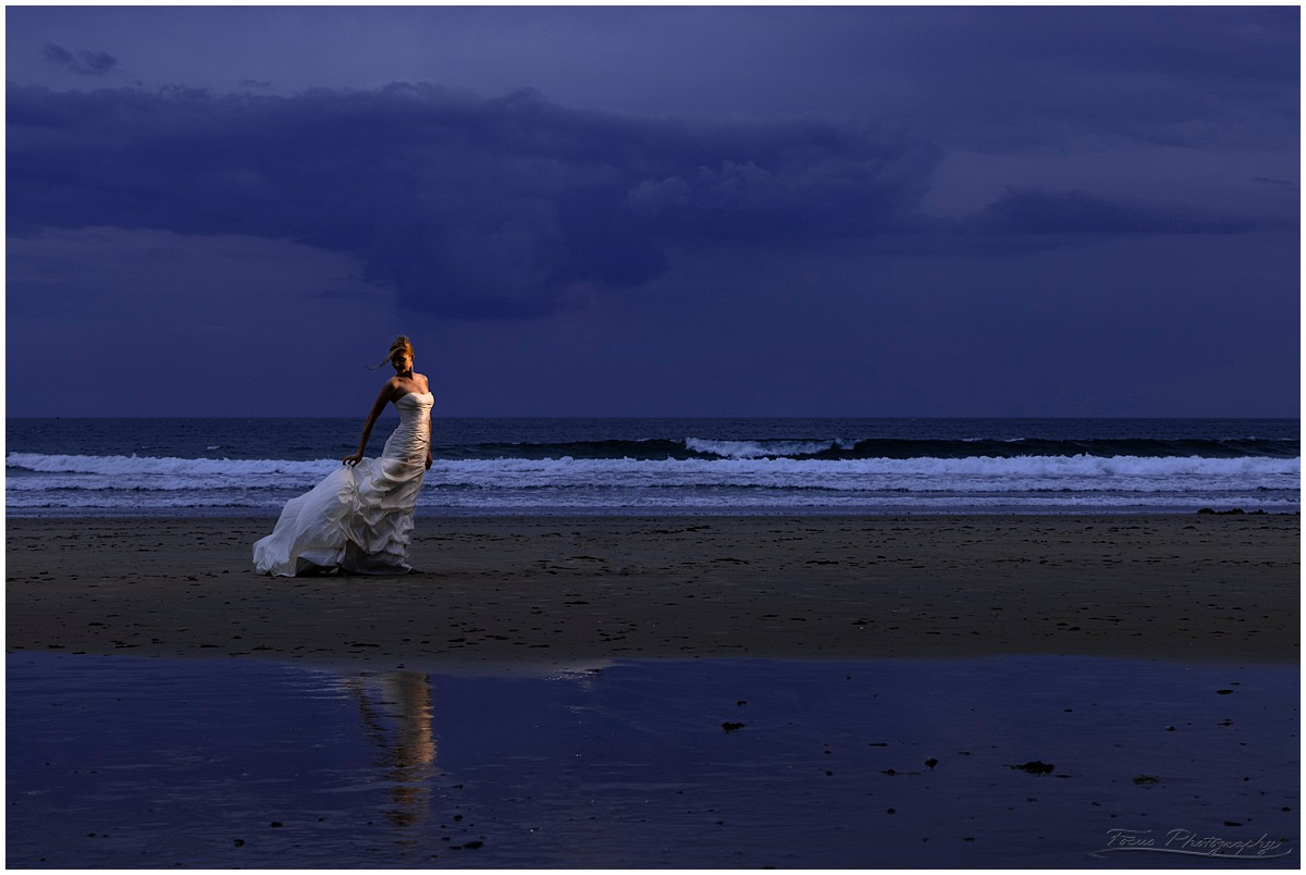 Bridal portraits at the beach in Maine