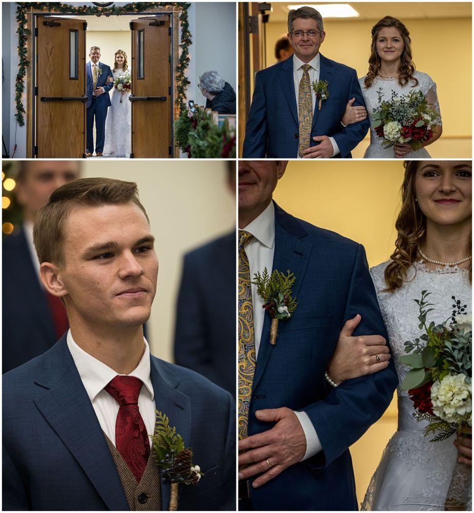 bride and father enter church