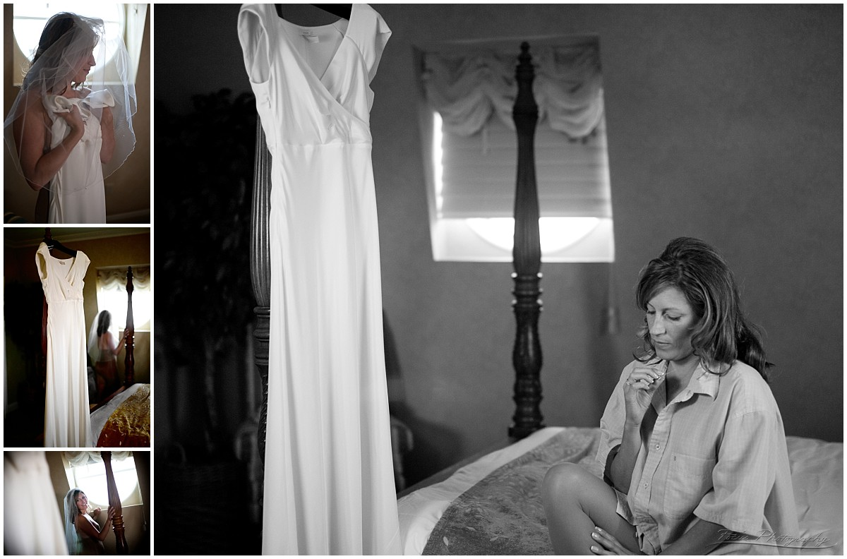 Bride and dress boudoir on wedding day