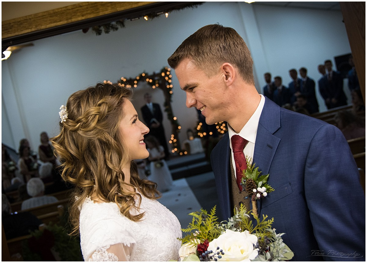 couple outside church after wedding