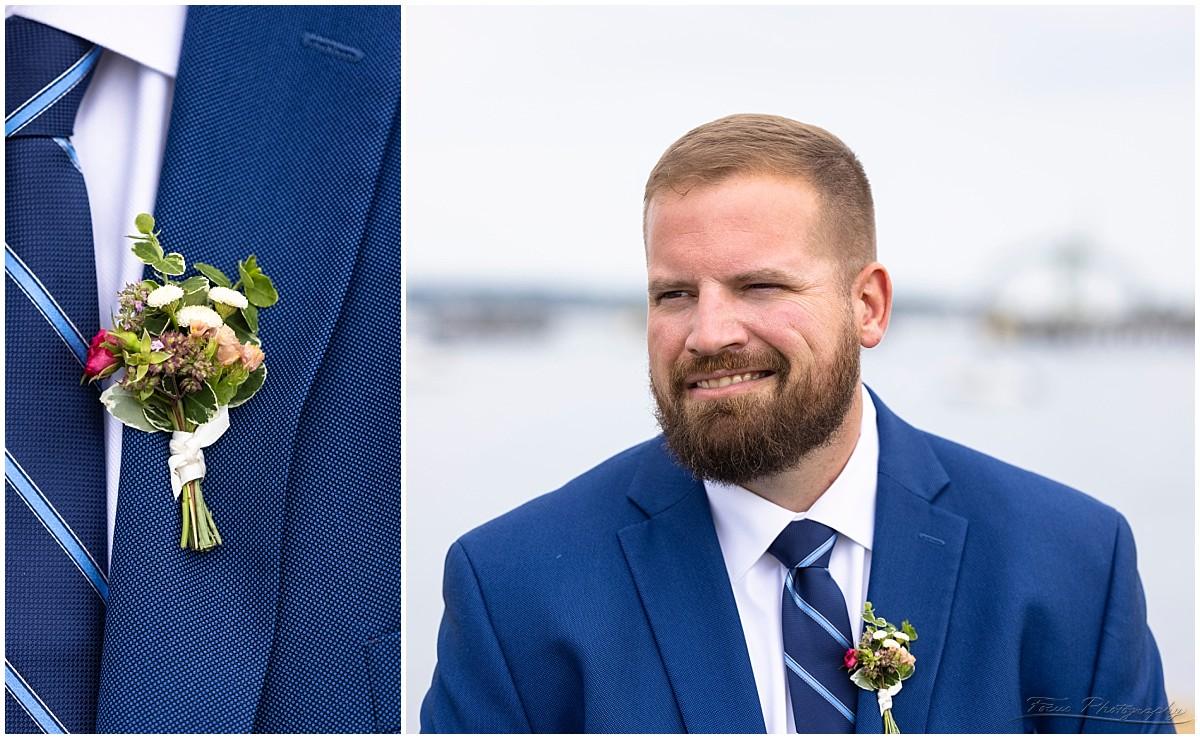 Check out Craig's boutennierre - a little floral arrangement, instead of a big, easily-broken flower.