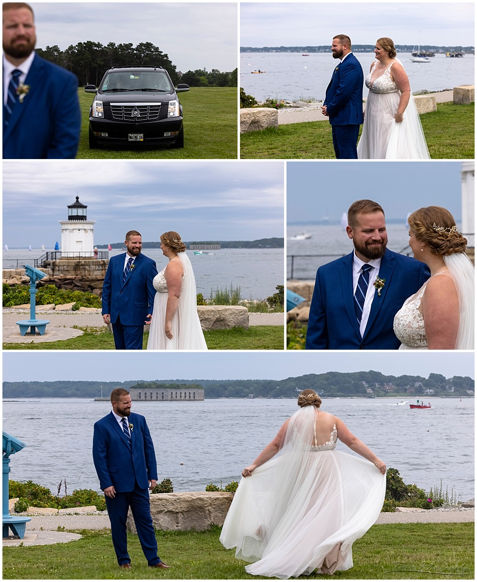 This is the first time I've had a bride pull up to the first look in a Limo!  Kudos to the drivers from Maine Limo, who went offroad several times to deliver the bride and her family so they wouldn't have to walk excessively in the heat.