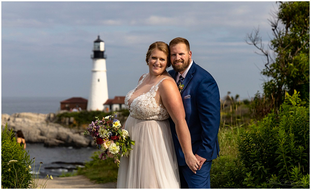 Fort Williams Wedding bride and groom in front of  Portland Head