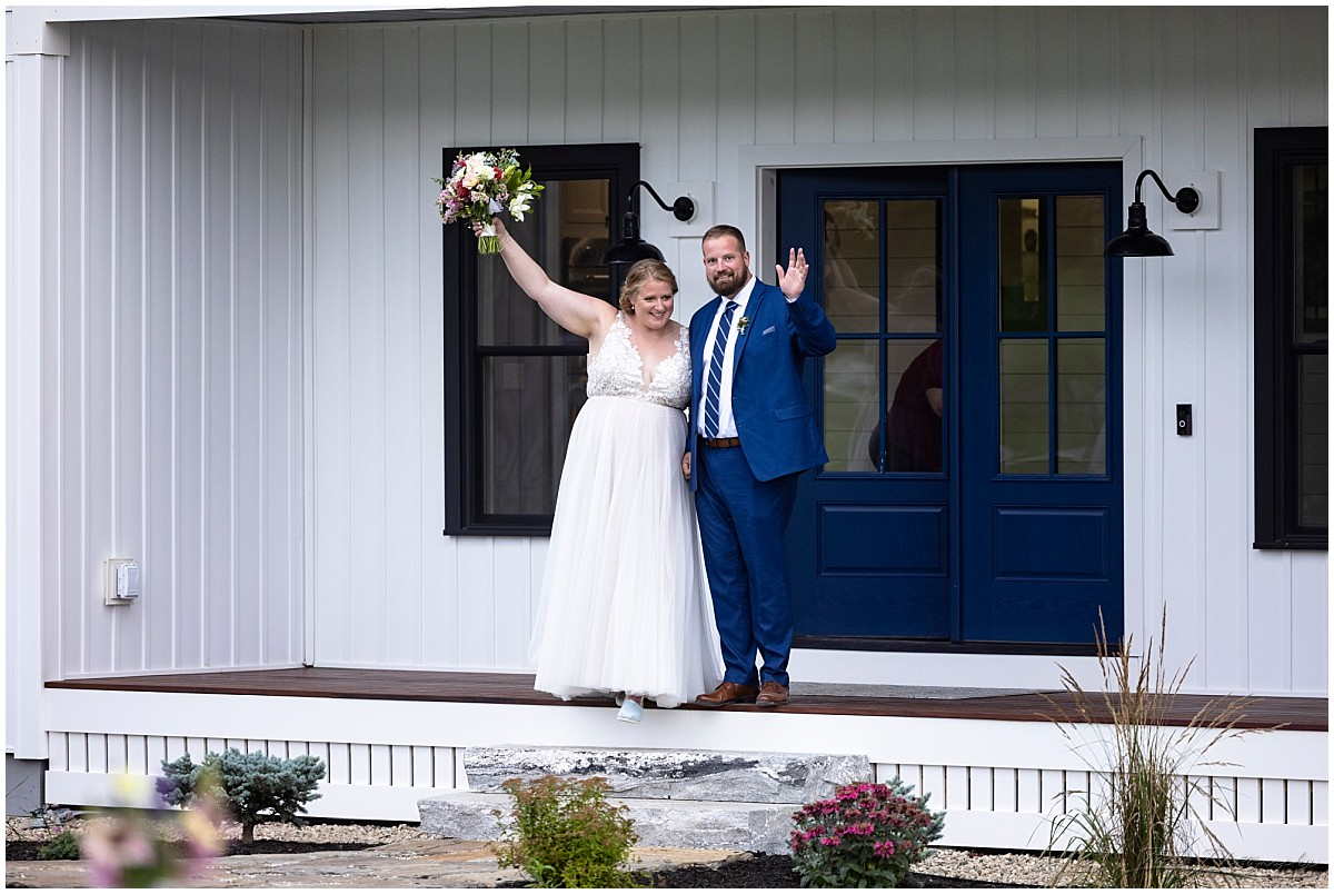 Backyard wedding reception in tent
