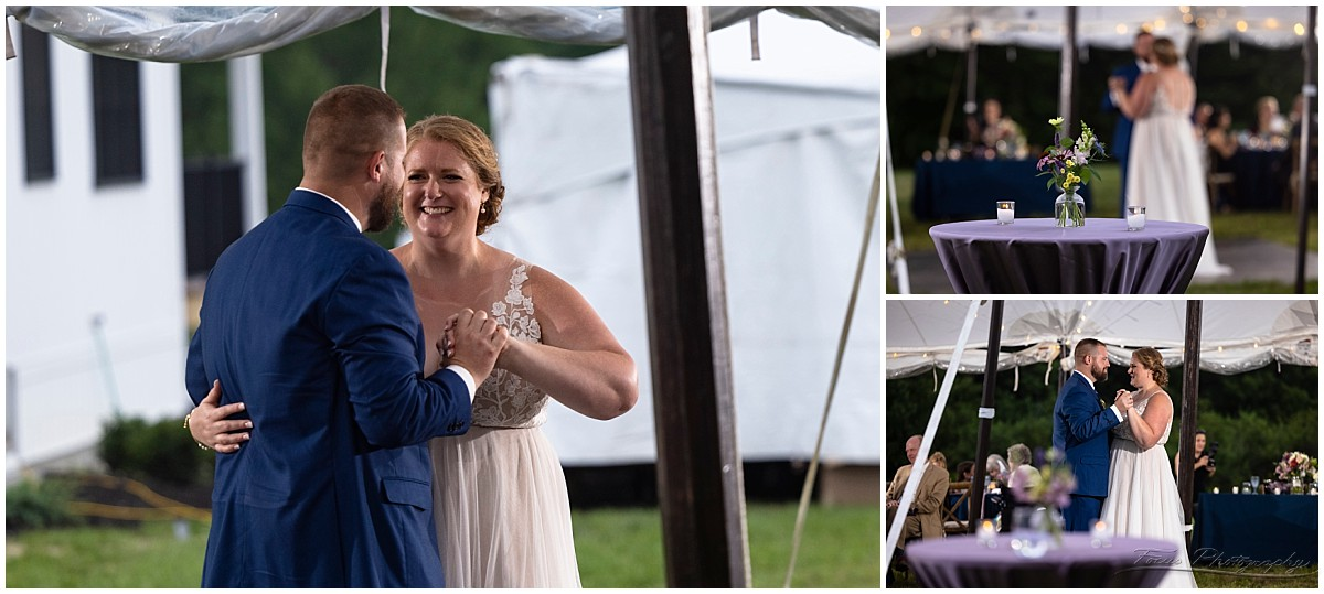 First dance of bride and groom at backyard wedding reception in