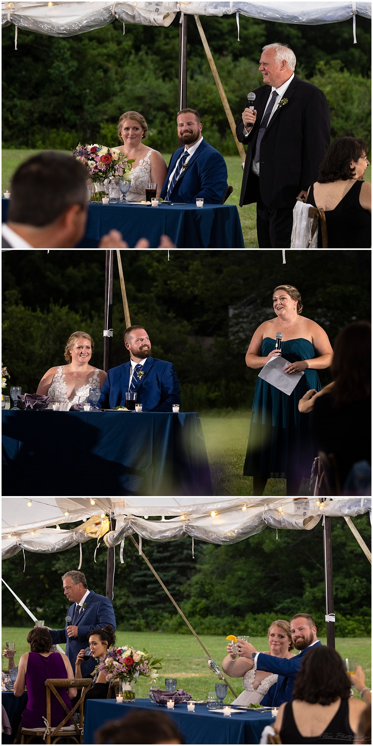 Father of the bride, maid of honor, and best man's toast at back