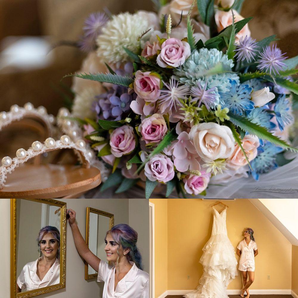silk flower bouquet and bride prep photos
