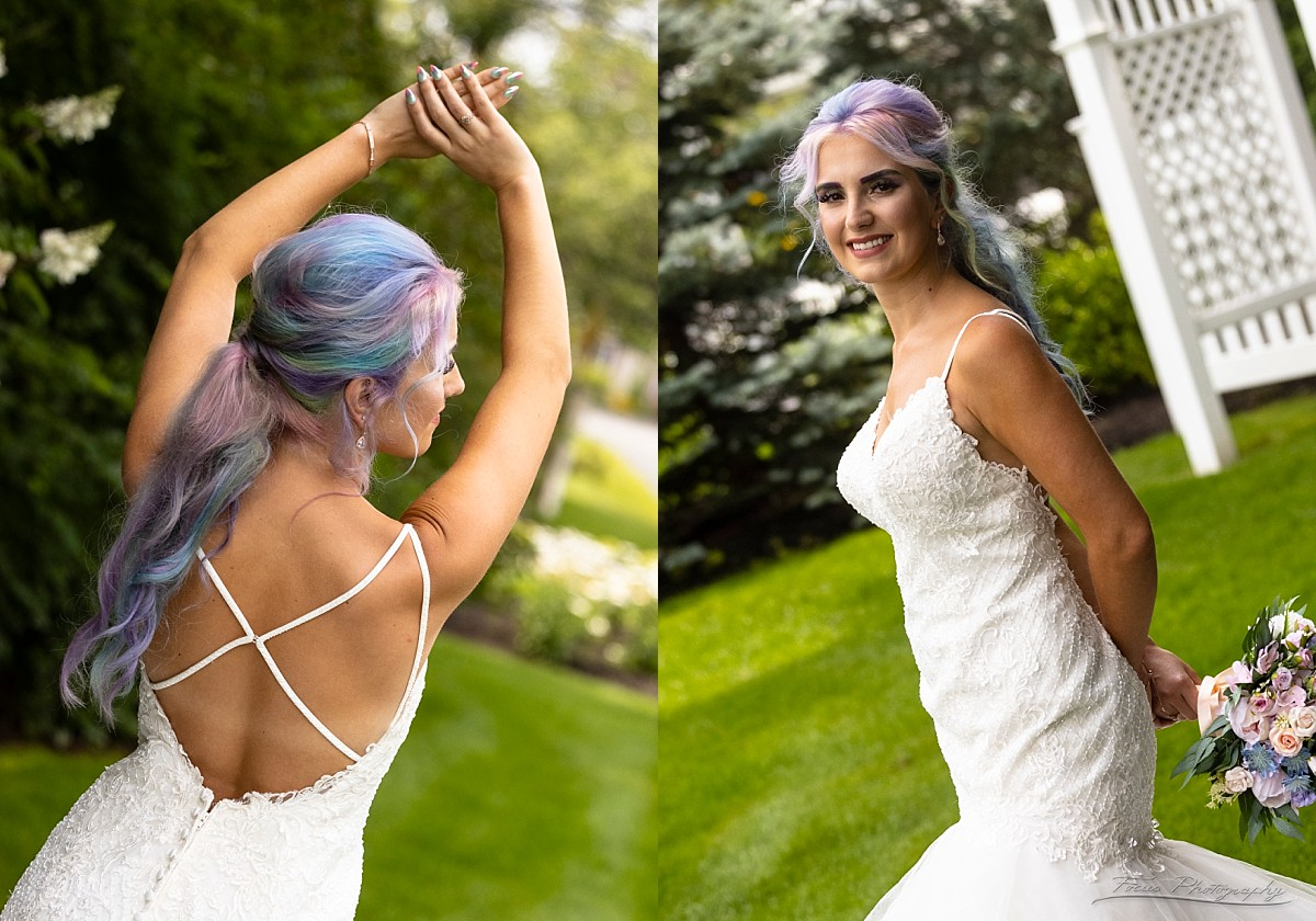 bride's dress from front and back