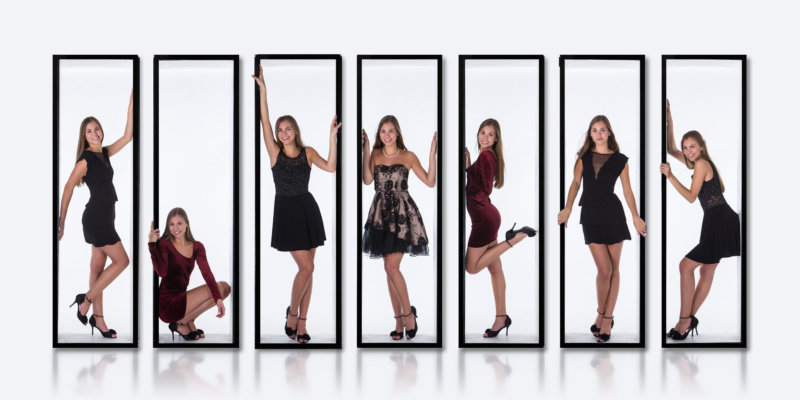 collage of same girl wearing different dresses for fun senior pictures in studio in maine