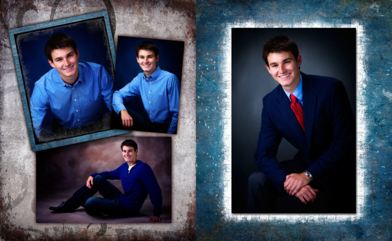 collage of pictures of senior guy taken in professional photography studio in maine