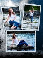senior photos of girl kicking water at camera