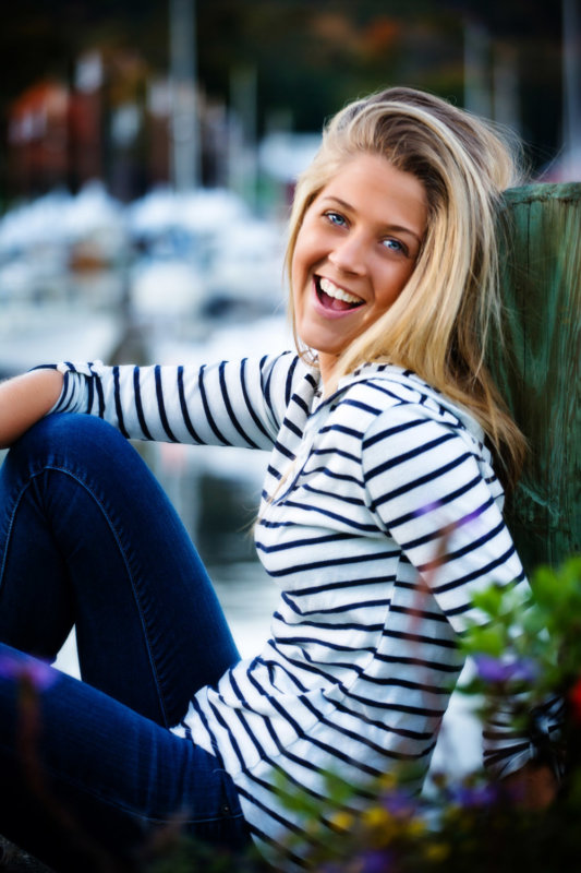 senior girl photographed at yacht club in camden maine