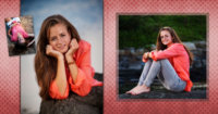 collage of senior pictures taken at the beach in maine
