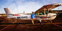 senior picture with airplane