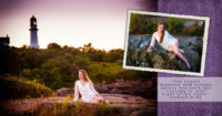 collage of girl photographed at beach in maine for senior pictures