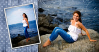 Mavi at the beach in Maine with senior photographers Will and Lucia of focus photography