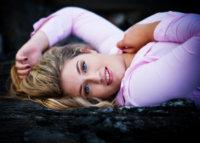 close up of senior girl taken at beach in maine