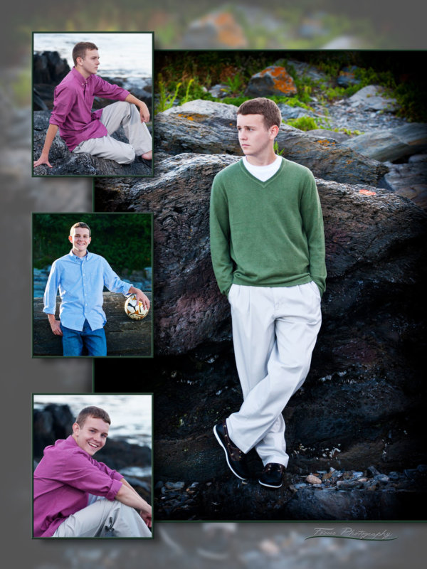 senior boy wearing sweaters and button downs at beach in maine for pictures