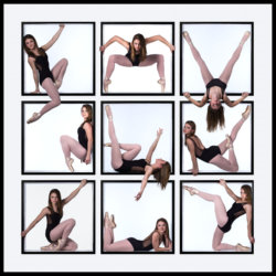 collage of dance pictures taken inside of box set