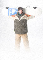 senior boy photographed in digital snow storm, created in photography studio in maine