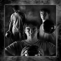 soccer poster of boy in black and white image