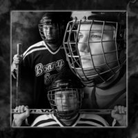 hockey poster in black and white