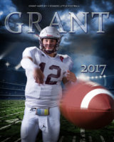 sports poster of senior throwing football taken in photography studio in maine