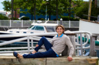 boy at waterfront for senior photos
