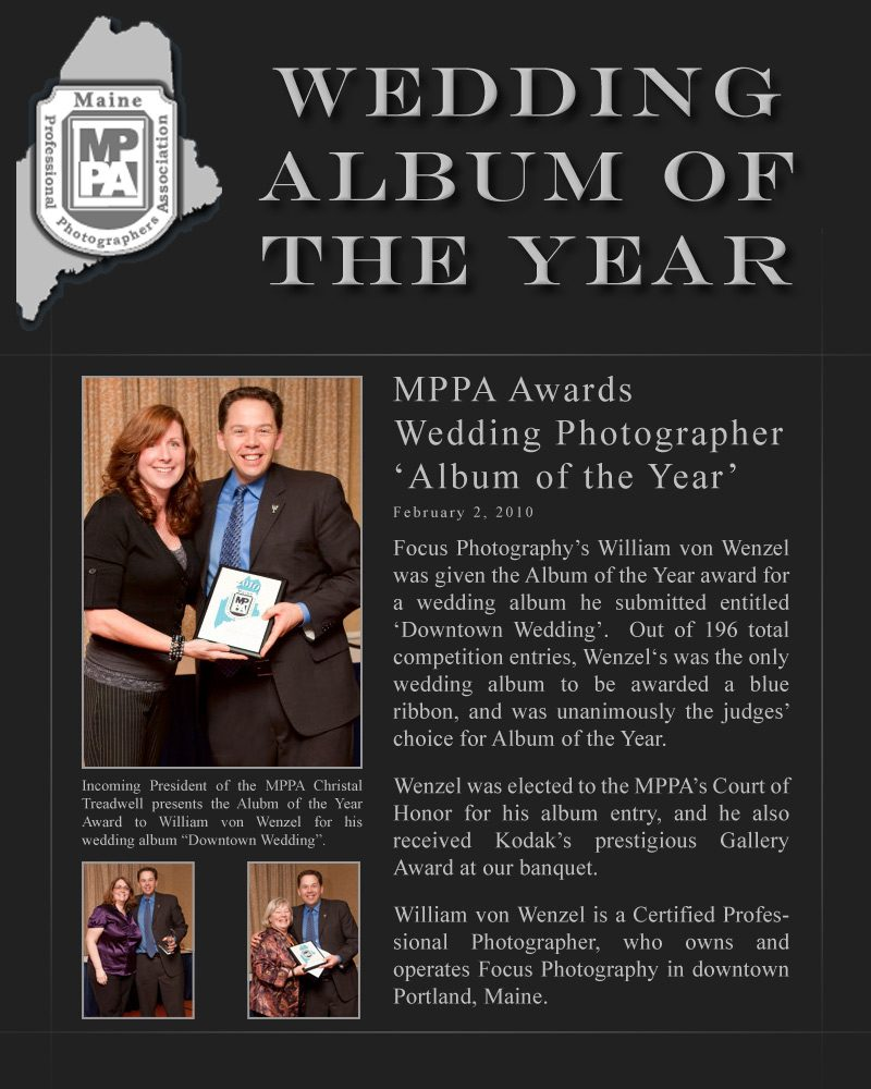 MPPA awards Focus Photography's Will Wenzel Wedding Album of the Year