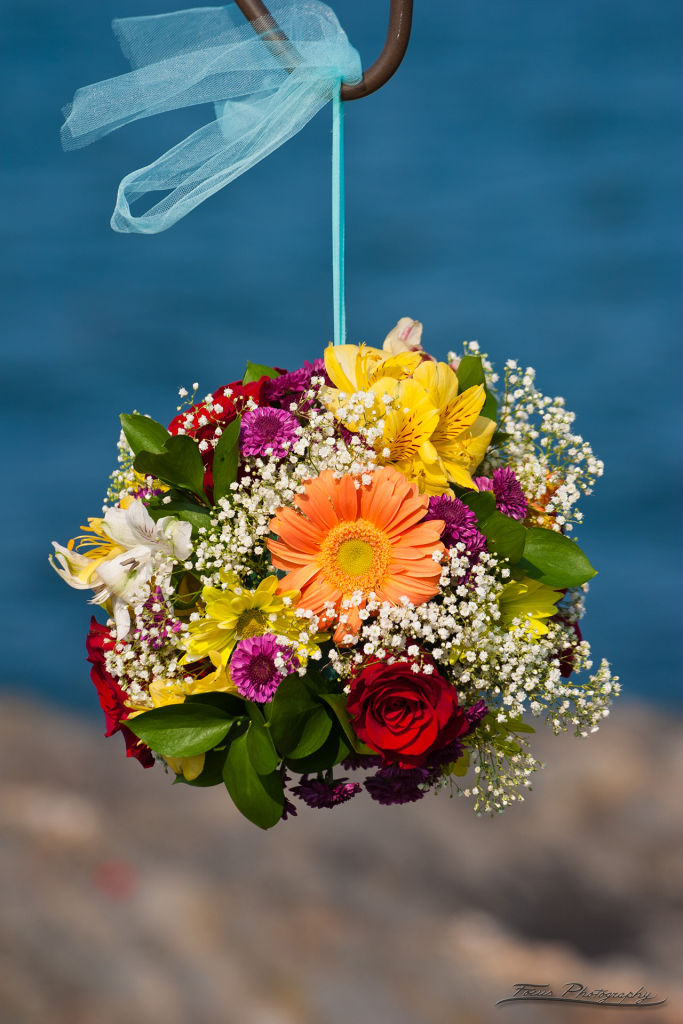 Close up of flower bouquet at Maine wedding