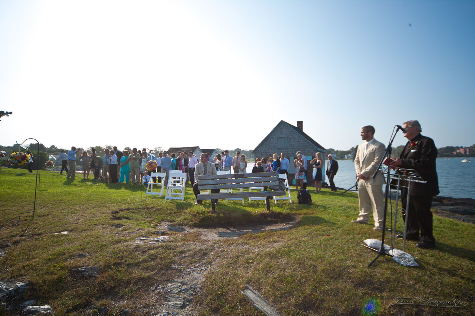 Groom waiting for Bride at Willard Beach wedding
