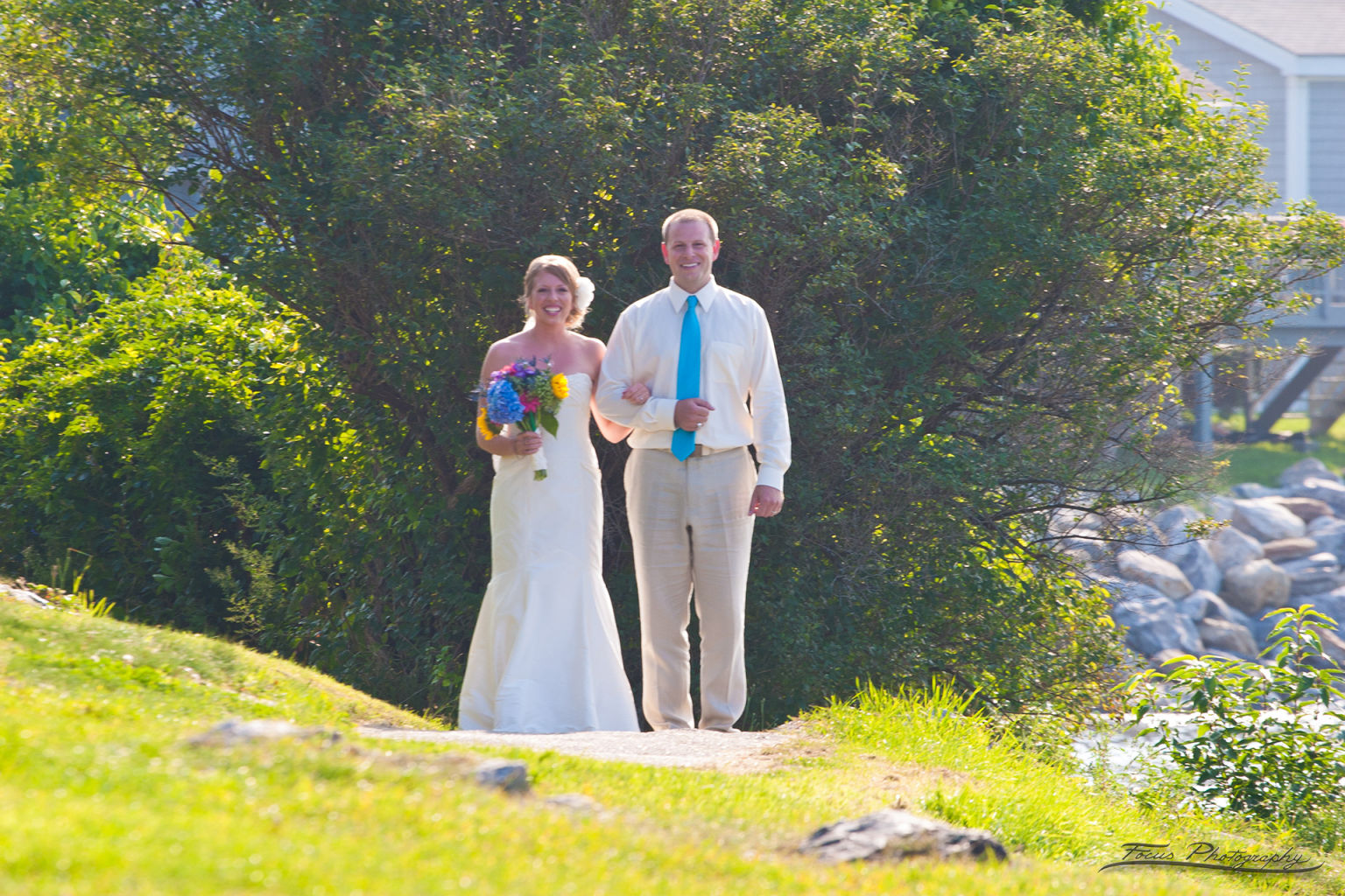 Bride walking out at Maine wedding