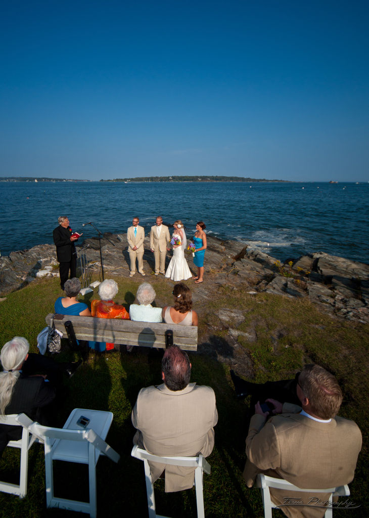 Wedding in front of Casco Bay Maine