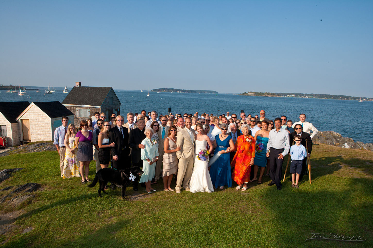 Large group shot at Maine ocean wedding