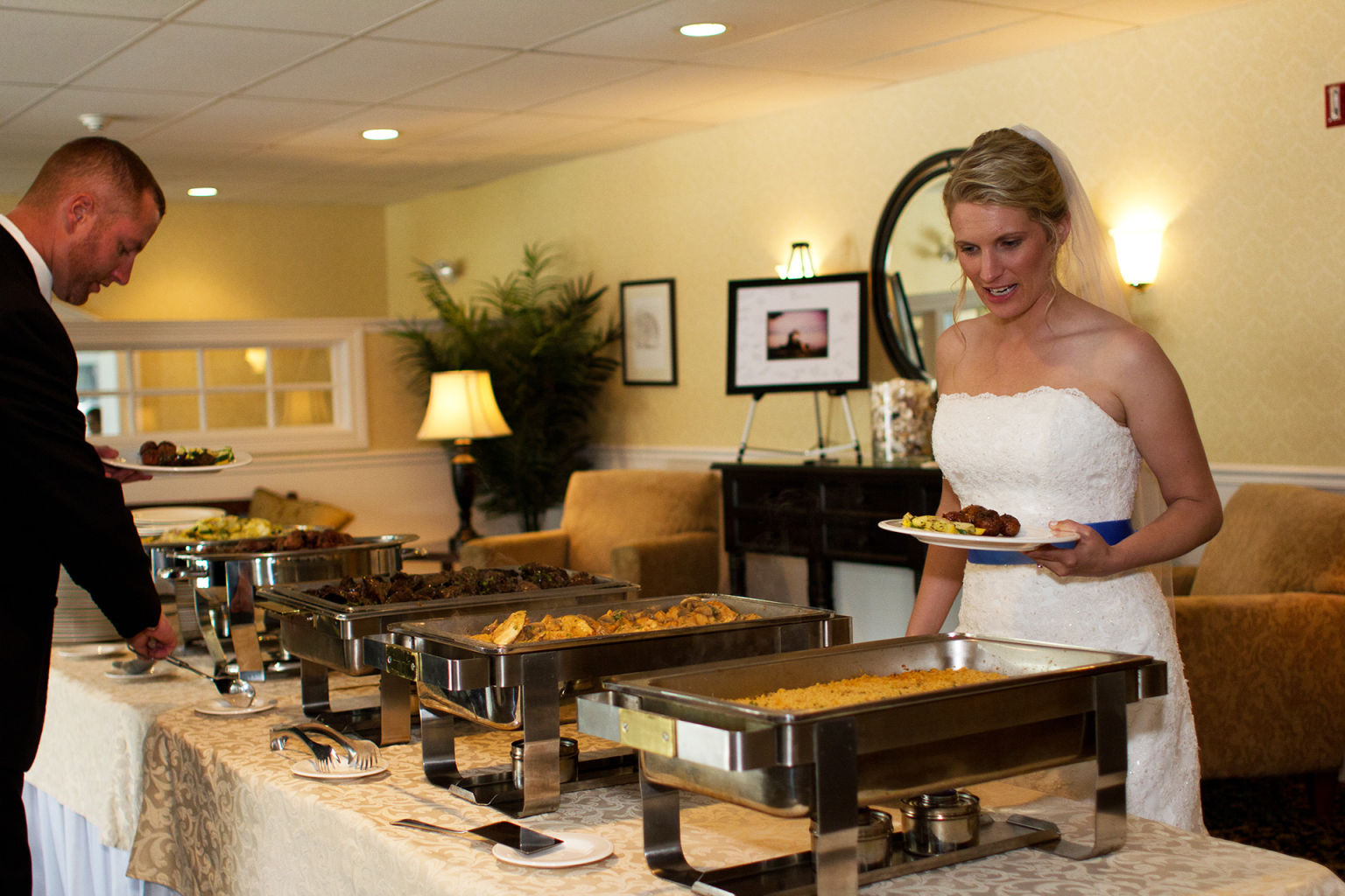 Wedding buffet at Coastal House in Wells Maine